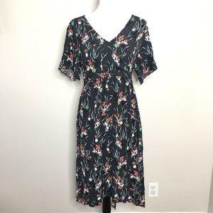 Gap Maternity Floral Crepe Tie Faux Wrap Dress